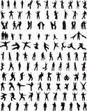 123 von Leute-Schattenbildern Lizenzfreie Stockbilder