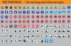 124个符号警告 免版税库存照片