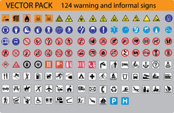 124 warning signs Royalty Free Stock Photos