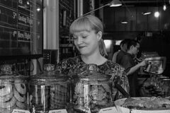 125 back in the saddle @revolver_coffee welcome back alyssa!-vancouver-gastown-xe2-zeiss35-2-20150612-DSCF6526-Edit stock photography