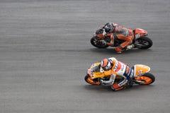 125cc赛跑端的活动motogp 免版税库存图片