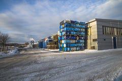 128 empty barrels Stock Image