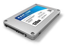 128GB solid state drive (SSD). Isolated on white background Royalty Free Stock Photo