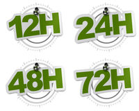 12H, 24H, 48H, 72H green stickers. 12H, 24H, 48H, 72H twelve hours sticker over a gray watch dial, image over a white background vector illustration