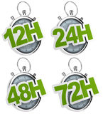 12H, 24H, 48H, 72H sticker isolated. 12H, 24H, 48H, 72H sticker over a gray stopwatch, image isolated over a white background Stock Photo
