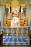 12th cen. Romanesque ornament in front of an organ Stock Photo