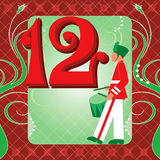 12th Day of Christmas. Vector Illustration Card for the 12 days of Christmas. Twelve Drummers Drumming Stock Images