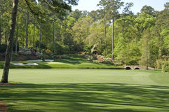 12th hole at golf course. A view from the 12th hole at the Augusta National Golf Course in the USA during the Azalea season Royalty Free Stock Photo