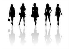 13个方式剪影妇女 免版税库存图片