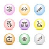13个球颜色图标设置了万维网 免版税库存照片