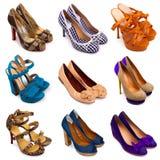 13双女性多彩多姿的鞋子 免版税图库摄影