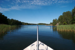 13条小船码头瑞典 免版税库存图片