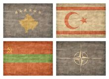 13/13 Flags of European countries. Vintage collection of european country flags isolated on white background. Kosovo, Northern Cyprus, Transnistria, NATO royalty free illustration