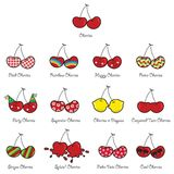 13 cherries with personalities Royalty Free Stock Images