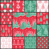 13 Christmas patterns. Set of 13  seamless pattern with Christmas trees Stock Photos