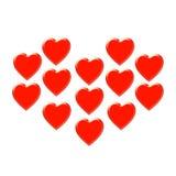 13 corações Ilustração Stock