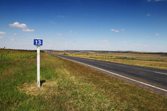 13 kilometre road sign Royalty Free Stock Images