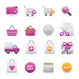 13 Purple Shopping Icons. A group of coloured shopping icons set Stock Photo