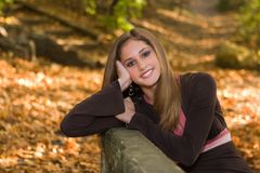 13 Year Old Teen Girl In Fall Foliage. Stock Photography