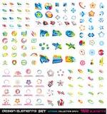 132 elementos abstratos 2D do projeto e 3D Fotografia de Stock