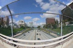 134加州高速公路glendale视图 库存照片