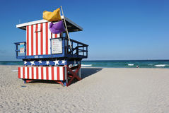 13th Street Lifeguard station, South Miami Beach. An unique aesthetic attribute of South Beach is the several colorful and unique lifeguard stands, still used Stock Photos