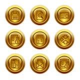 14个按钮金图标设置了万维网 免版税库存图片