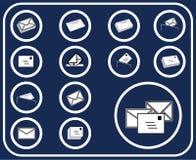 14个按钮d邮件集 库存图片