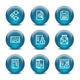 14个球玻璃图标设置了万维网 免版税图库摄影