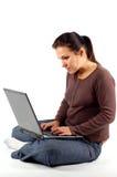14台膝上型计算机妇女工作 免版税图库摄影