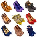 14 женских пестротканых ботинка Стоковая Фотография