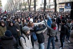 14 студент милана демонстрации 2010 -го в декабре Стоковое фото RF