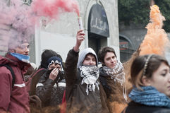 14 студент милана демонстрации 2010 -го в декабре Стоковые Фотографии RF