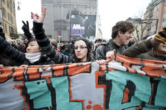 14 студент милана демонстрации 2010 -го в декабре Стоковое Фото