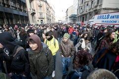 14 студент милана демонстрации 2010 -го в декабре Стоковое Изображение RF