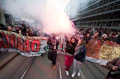 14 студент милана демонстрации 2010 -го в декабре Стоковая Фотография RF