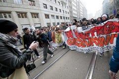 14 студент милана демонстрации 2010 -го в декабре Стоковая Фотография