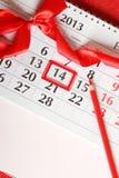 14-ый из календара в февраль Стоковое Изображение
