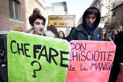 14 12月2010日演示米兰学员 库存照片