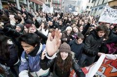 14 12月2010日演示米兰学员 免版税库存照片