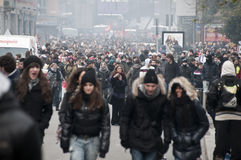 14 2010 Grudzień demonstraci Milan uczeń Zdjęcia Royalty Free