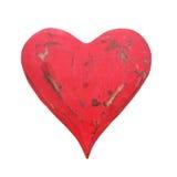 Винтажное красное сердце изолированное на белой предпосылке на день валентинки 14-ое февраля Стоковая Фотография