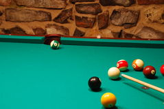 14 Ball In The Side Pocket. An easy shot - 14 ball in the side pocket Royalty Free Stock Image
