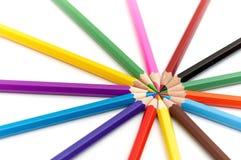 14 color pencils Stock Photos