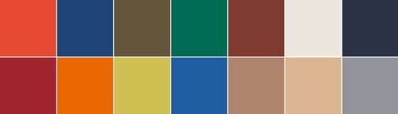 Free 14 Color Swatches From London Seasonal Color Trend Report For Autumn - WInter 2020-2021 Royalty Free Stock Photos - 181988598