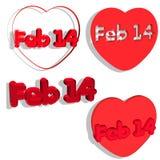 14 février dans 4 types Image libre de droits