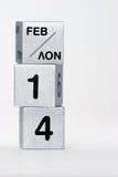?14. Februar? auf Metallwürfeln Stockbild