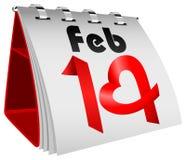 14. Februar Tabellen-Kalender Lizenzfreie Stockfotografie