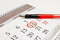 14 februari de Dag van de Valentijnskaart Stock Foto's