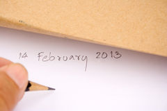 14 februari de nota's van de Dag van de Valentijnskaart. Stock Foto's